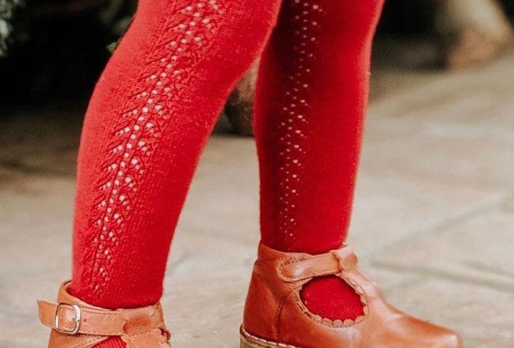 Dresuri din bumbac călduros, croșetate lateral - roșu