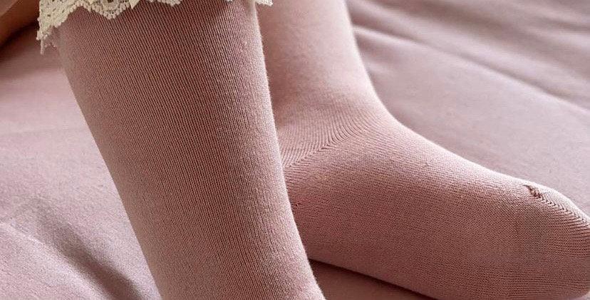 Șosete înalte cu dantelă - roz dulce