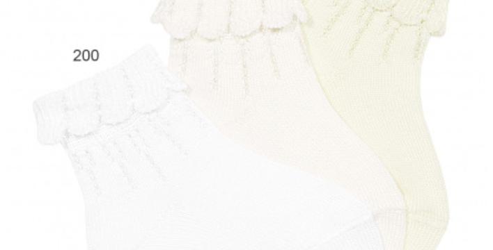 Șosete scurte cu margine - alb untos (cod 202)