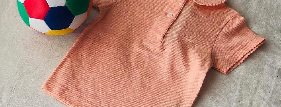 Tricou cu guleraș și năsturei - piersică