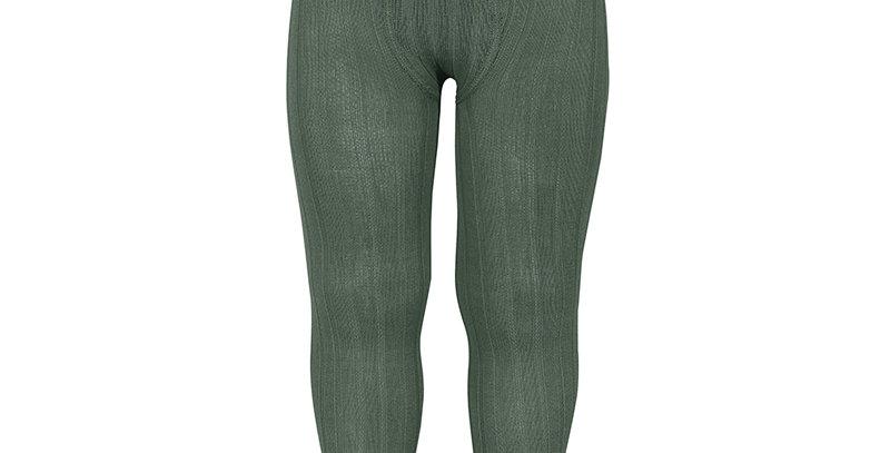 Dresuri din bumbac cu striații - verde ligheni