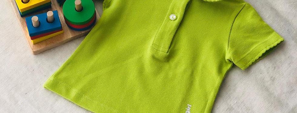 Tricou cu guleraș și năsturei - verde modern