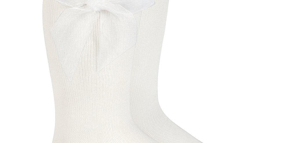 Șosete înalte, cu fundă, din organza - alb untos