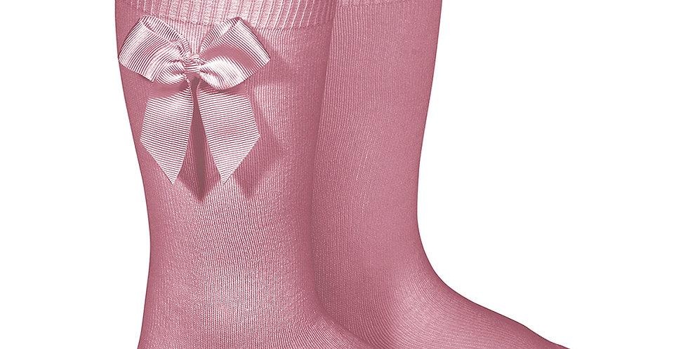 Șosete înalte cu fundă laterală, din bumbac - roz blush