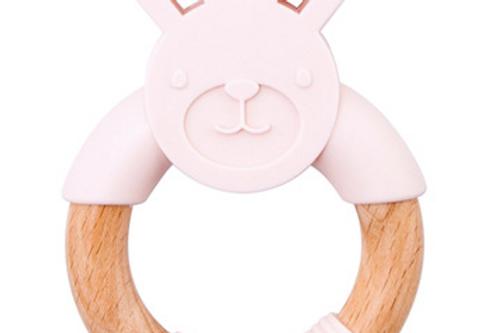 Jucărie dentiție - iepuraș - roz pudră