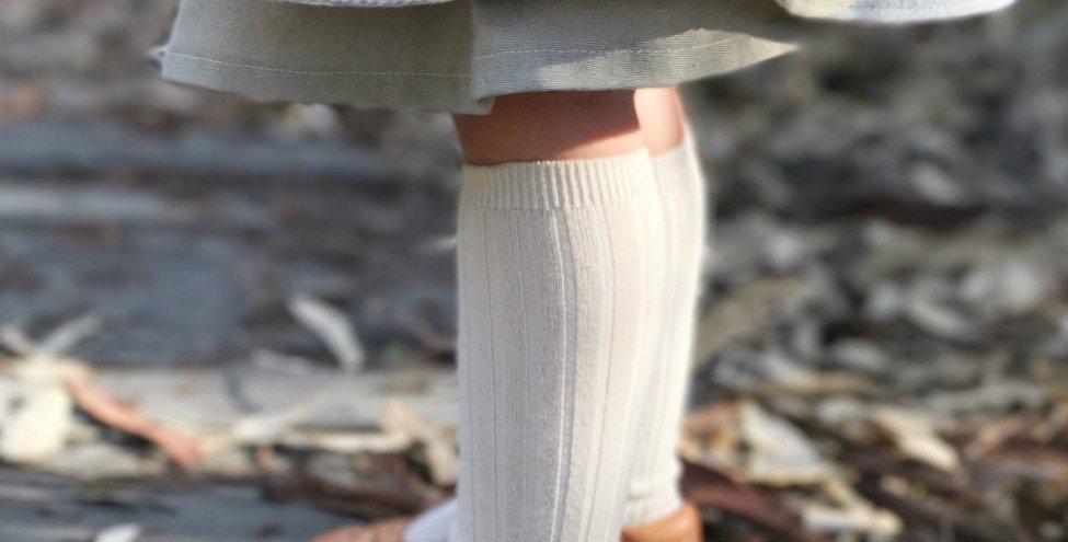 Șosete înalte, cu striații - alb