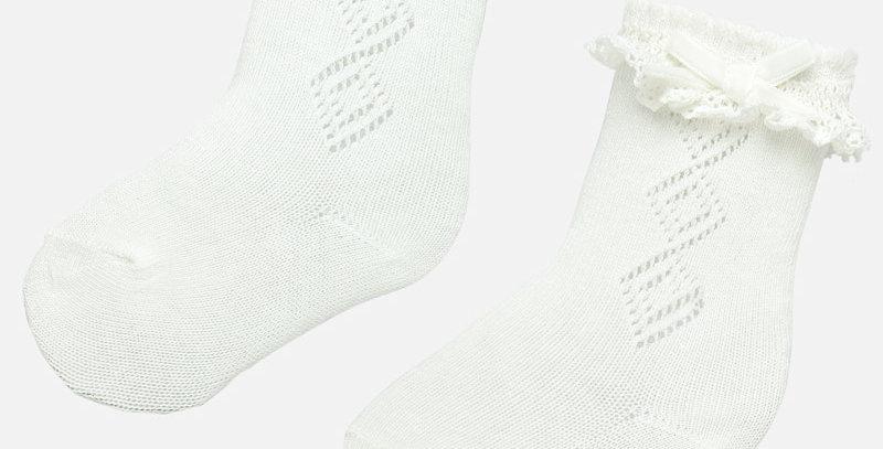Șosete - alb crud - lungi volonășe bebe fetiță
