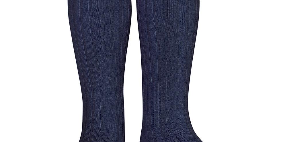 Șosete înalte, cu striații - bleumarin