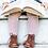 Thumbnail: Șosetă înaltă croșetată, din bumbac - roz dulce