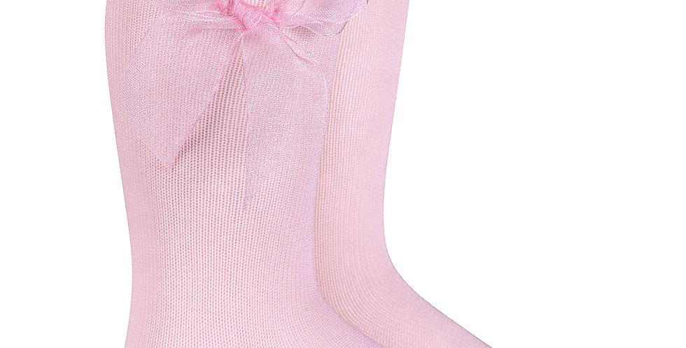 Șosete înalte, cu fundă, din organza - roz