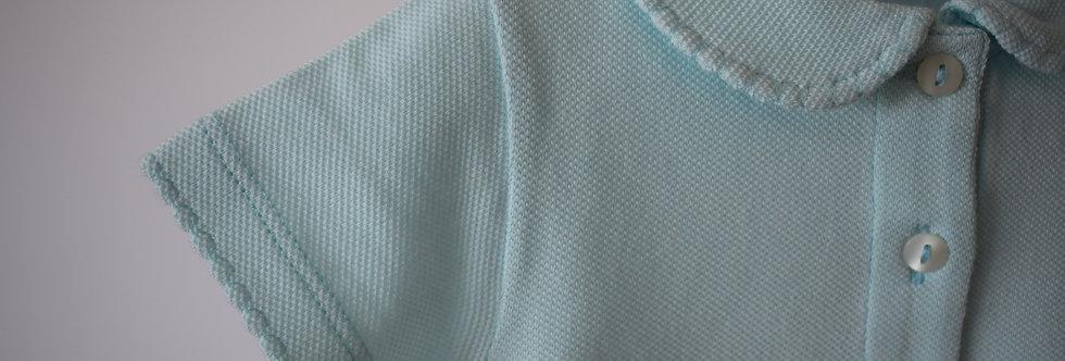 Tricou cu guleraș și năsturei - bleu