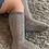 Thumbnail: Șosetă înaltă croșetată, din bumbac - gri deschis