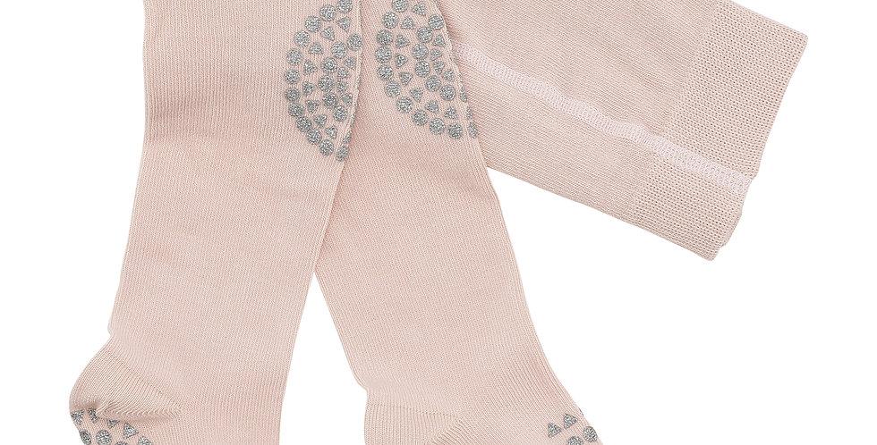Ciorapi anti-alunecare din bumbac - roz prăfuit cu sclipici