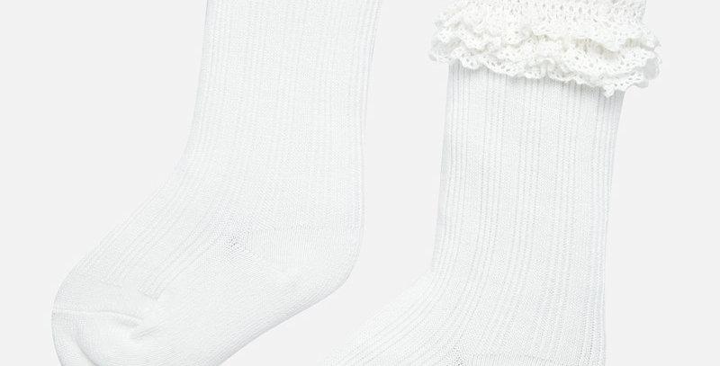 Șosete - albe - lungi volănășe bebe fetiță