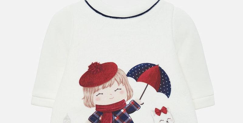 Rochie pluș cu pisică și umbreluță