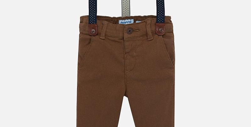 Pantaloni lungi chino bretele slim fit bebe