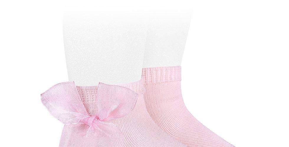Șosete scurte, cu fundă, din organza - roz