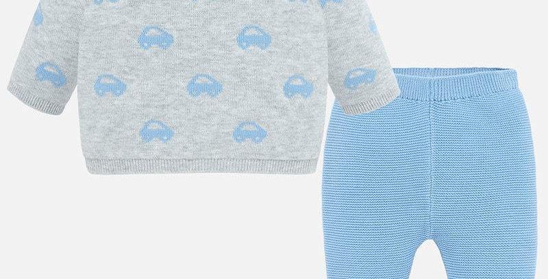 Set pantaloni botoșei și pulover imprimeu mașinuțe