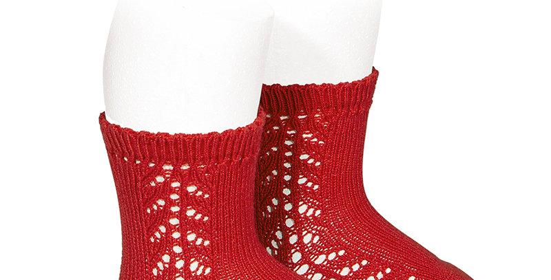 Șosete din bumbac călduros cu model dantelat - roșu
