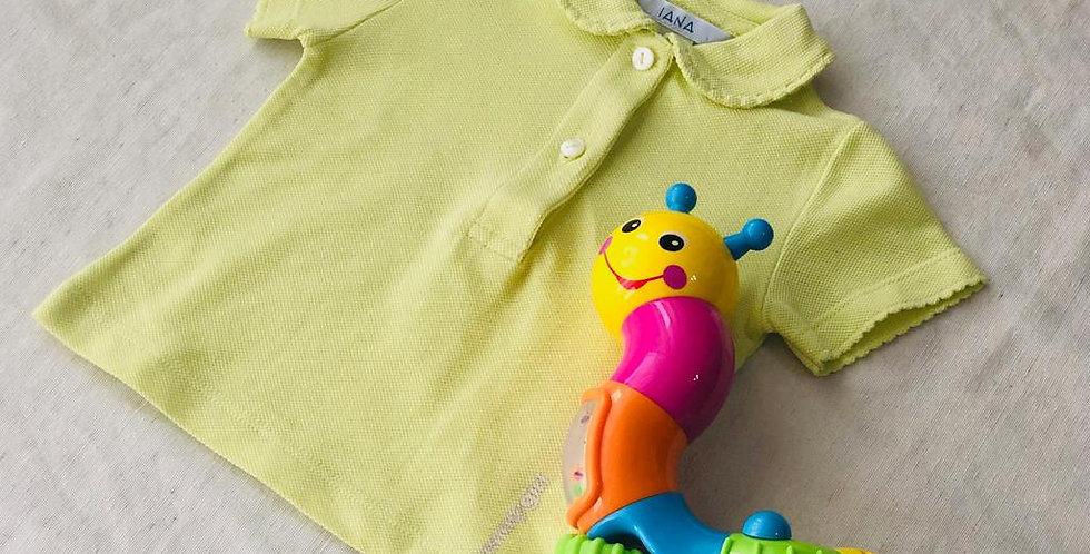 Tricou cu guleraș și năsturei - galben ice