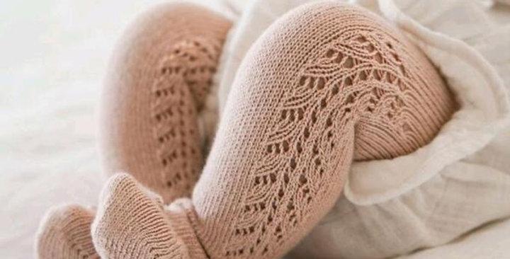 Dresuri din bumbac călduros, croșetate lateral - nude