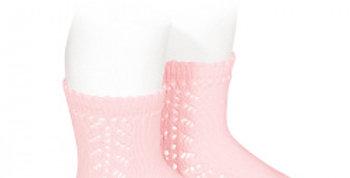 Șosete din bumbac călduros cu model dantelat - roz