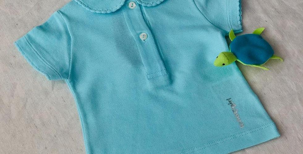 Tricou cu guleraș și năsturei - turcoaz