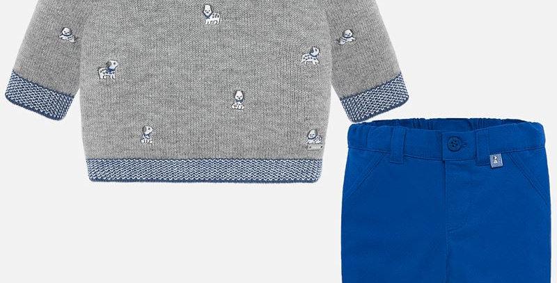 Set pantaloni lungi și pulover broderie bebe băiat