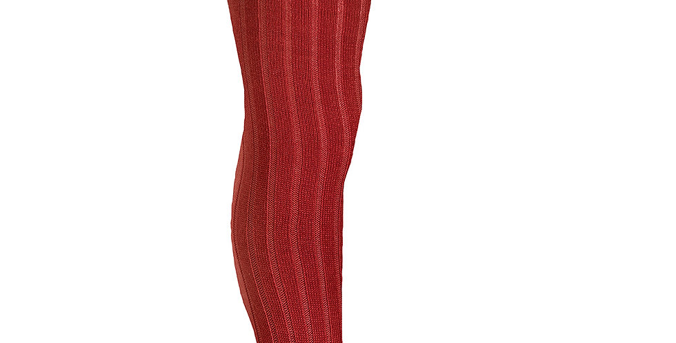 Dresuri cu striații din lână merino - roșu cireașă