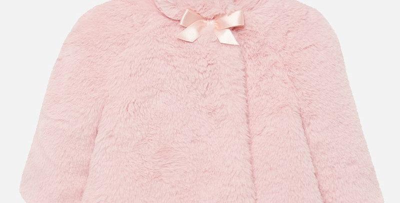 Palton blăniță pufoasă cu fundiță