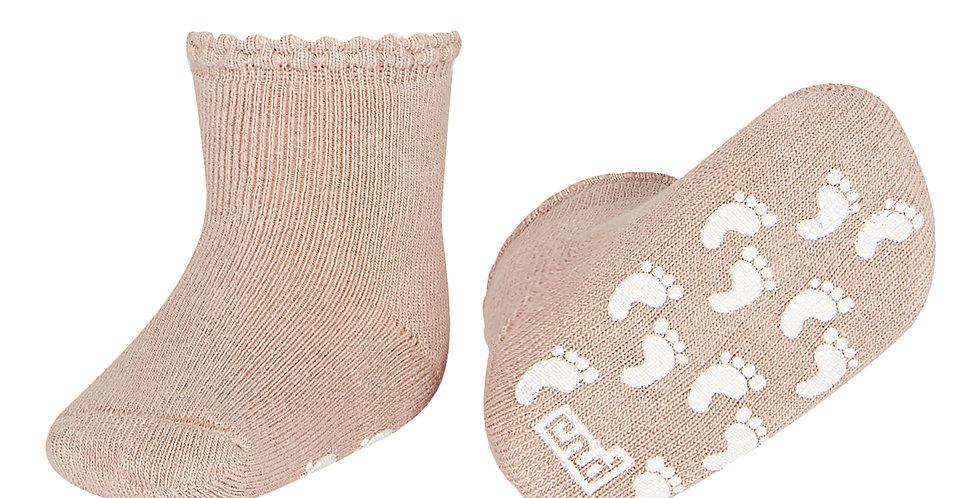 Șosete anti-derapante bumbac pufos - roz pudră