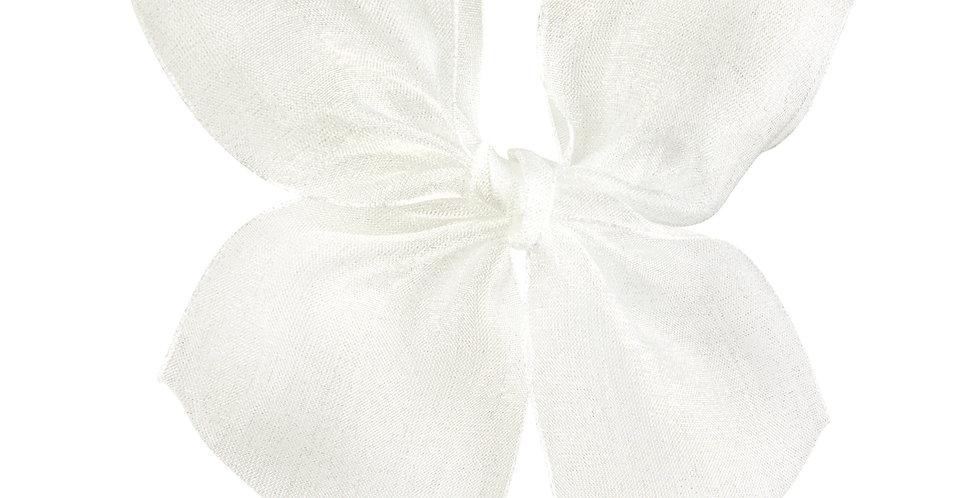 Agrafă de păr - fundiță de organza - albă untos