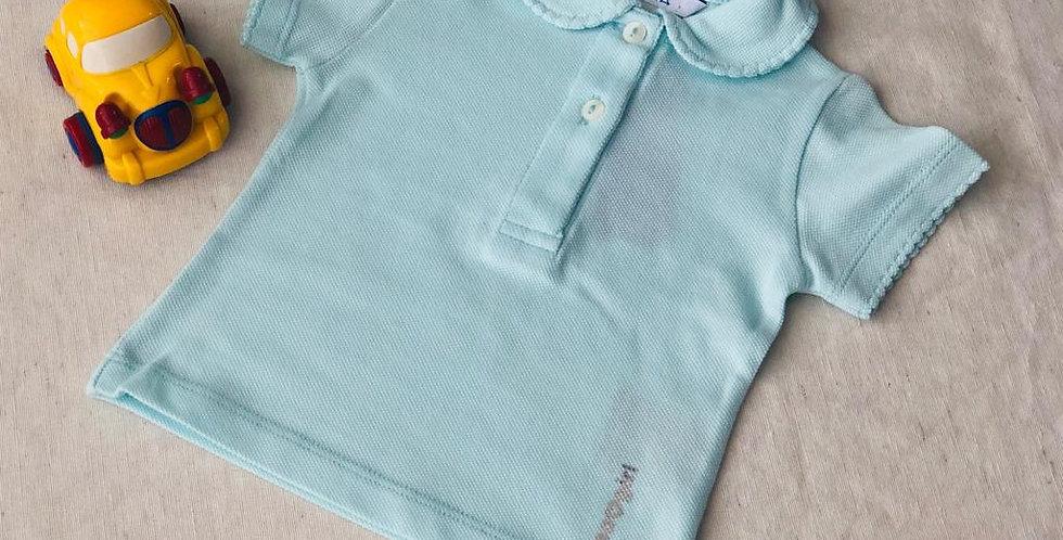 Tricou cu guleraș și năsturei - azuriu