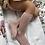 Thumbnail: Șosetă înaltă croșetată, din bumbac - roz pudră