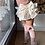 Thumbnail: Șosete înalte cu fundă laterală, din bumbac - roz dulce