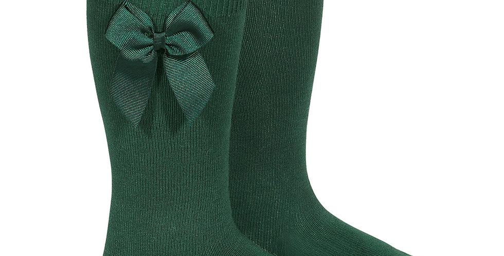 Șosete înalte cu fundă laterală, din bumbac - verde pădure
