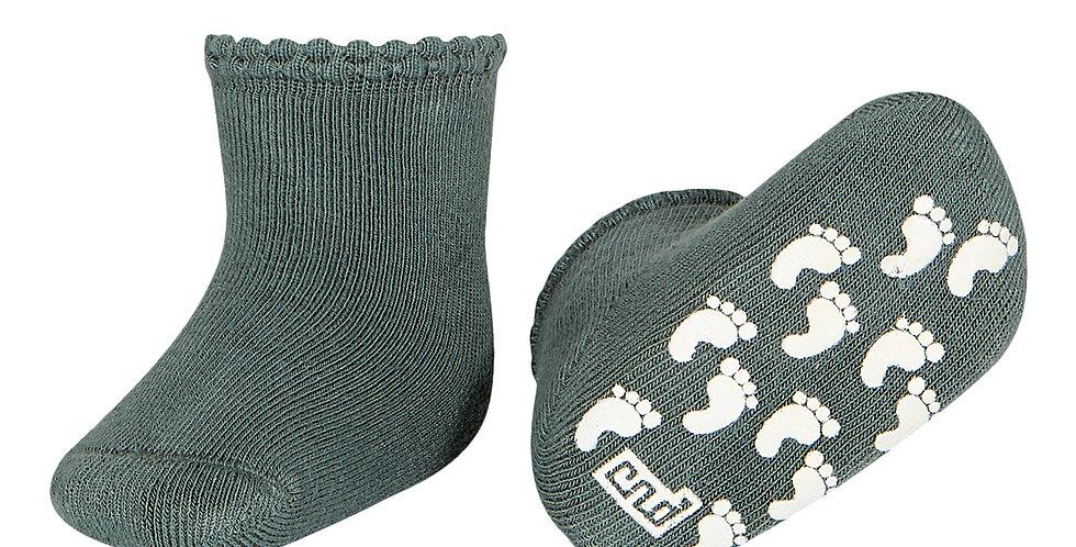 Șosete anti-derapante bumbac gros - verde lichen