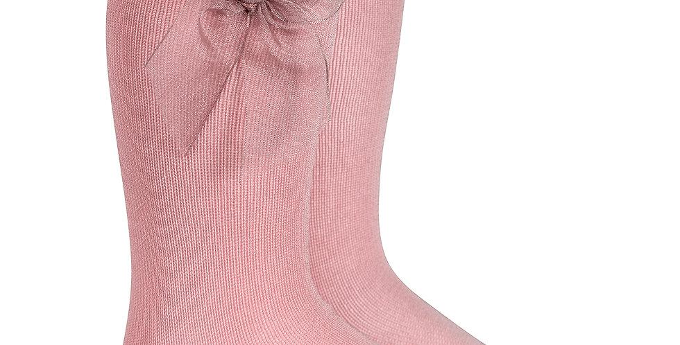 Șosete înalte, cu fundă, din organza - roz dulce