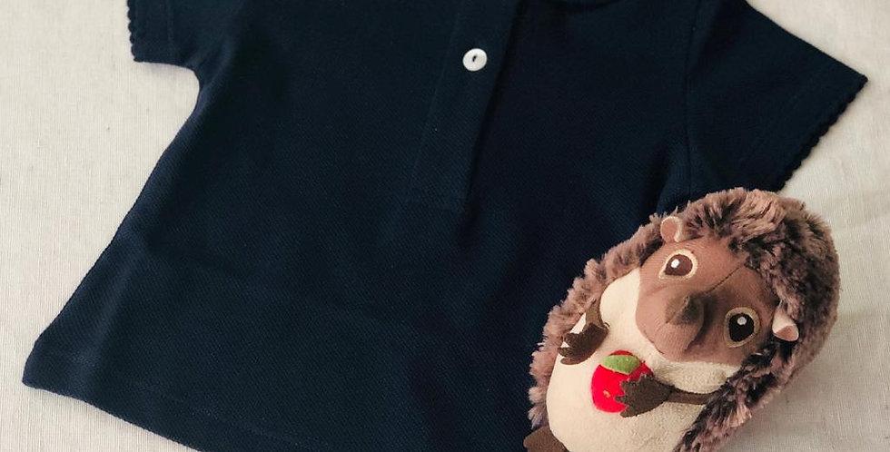 Tricou cu guleraș și năsturei - bleumarin