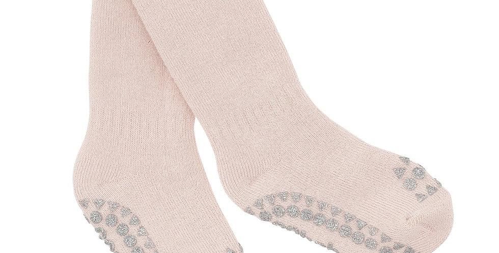 Șosete anti-alunecare din bumbac călduros - roz prăfuit cu sclipici