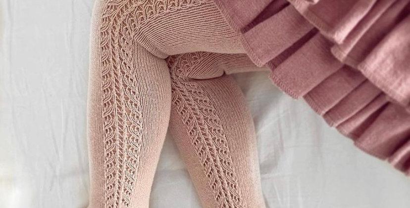 Dresuri din bumbac călduros, croșetate lateral - roz pudră