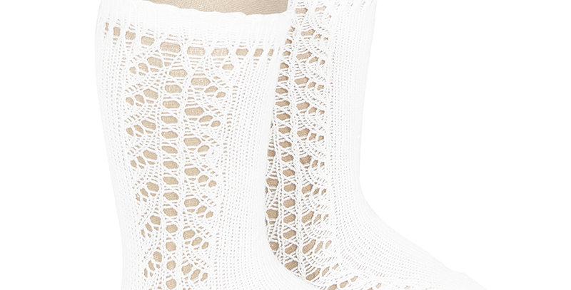Șosete înalte croșetate, din bumbac - alb