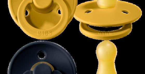 Set suzete Bibs - mustard & dark denim
