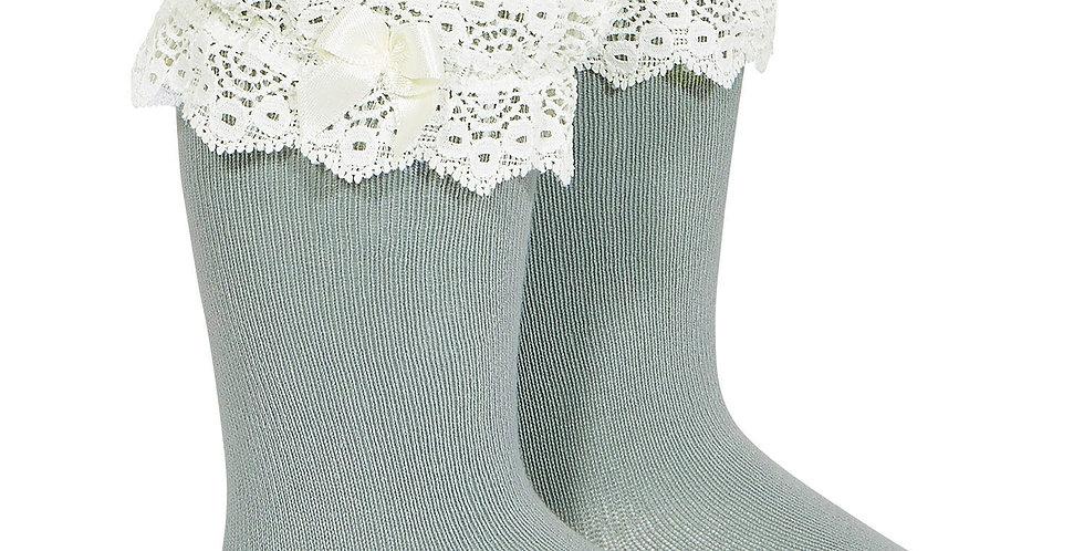 Șosete înalte cu dantelă - verde uscat
