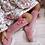 Thumbnail: Șosete înalte cu fundă laterală, din bumbac - roz blush