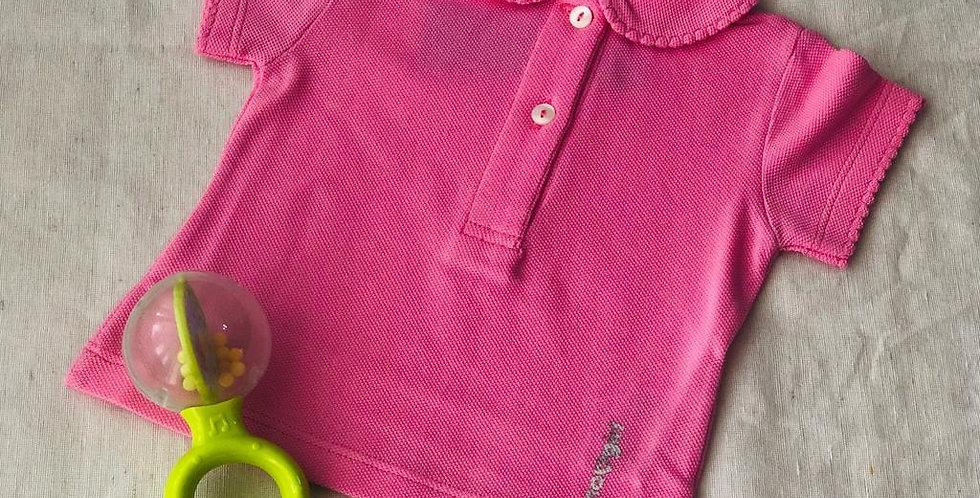 Tricou cu guleraș și năsturei - roz aprins