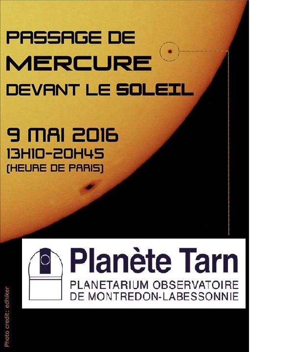Ne manquez pas le transit de Mercure devant le soleil lundi 9 mai 2016!