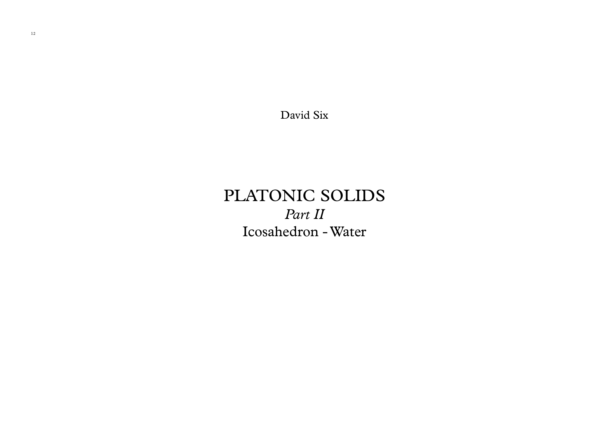 Platonic Solids (op.84) - David Six 2018