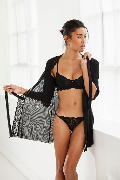 CLO-FORTUNA-LACE-WRAP ROBE-BLACK
