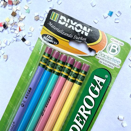 Dixon Lápices Set de 6 lápices de grafito suaves 2HB